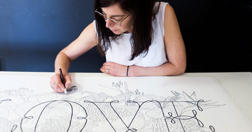 Maria working on the artwork