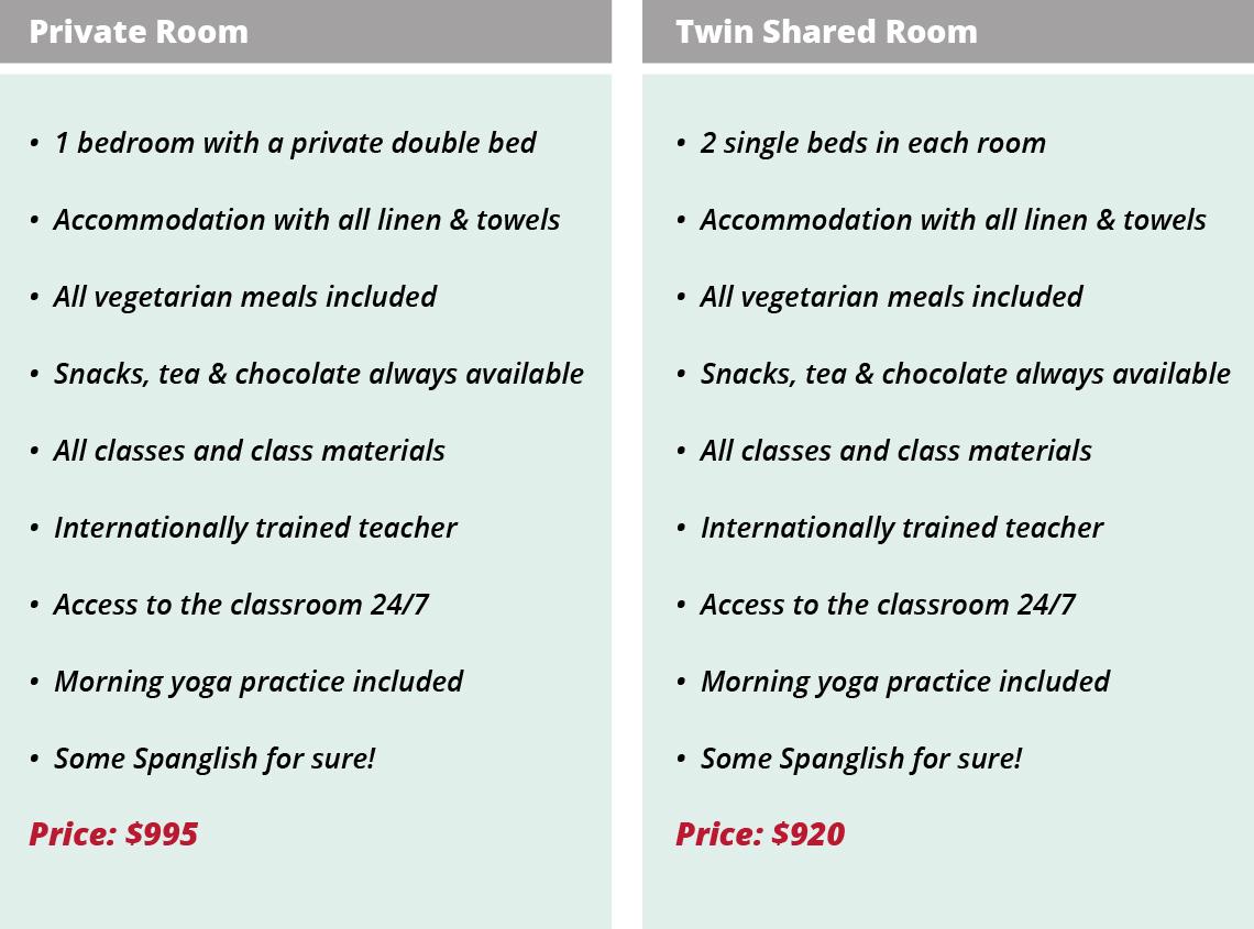 Retreat costs for individual and twin shared rooms